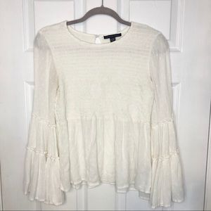 American Eagle White Bell Sleeve Flowy Top XS